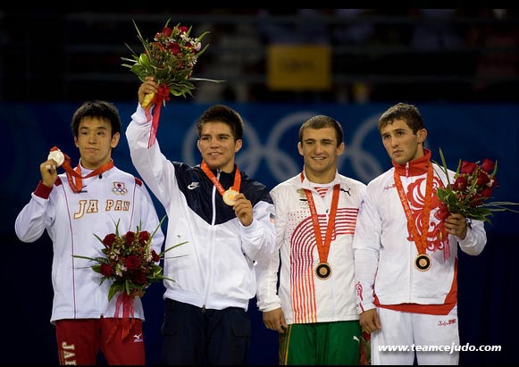 Henry Cejudo and fello Olympian wrestling medalists