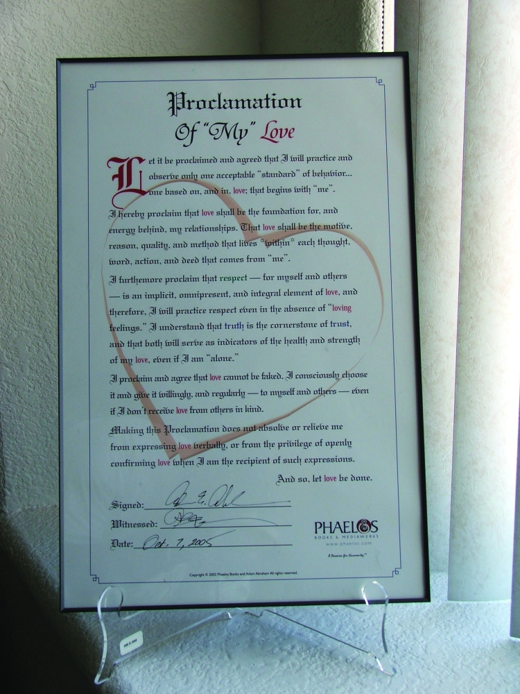 Love Proclamation: Framed